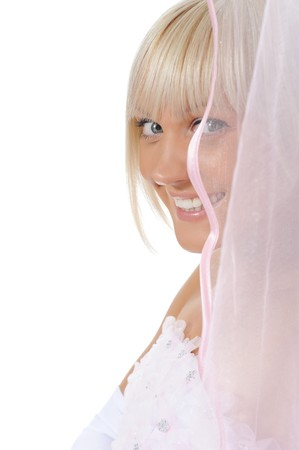 bride with veil. Isolated on white background photo