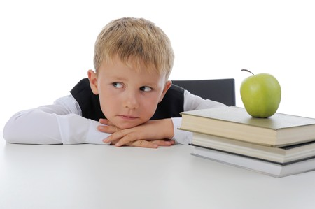Little boy with book. Isolated on white background Stock Photo - 7799437