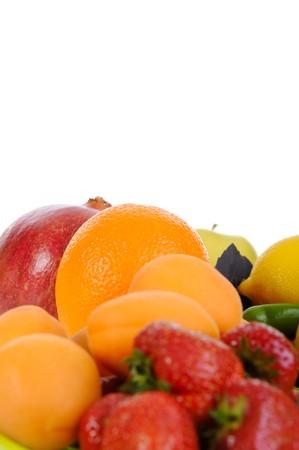 Fresh organic fruit. Isolated on white background photo