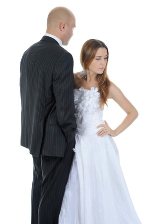 emotiona bride and groom. Isolated on white Stock Photo - 7799443