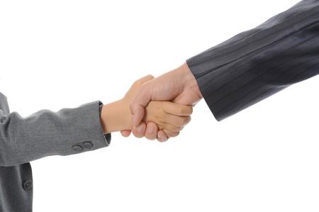 Handshake man and little boy. Isolated on white photo