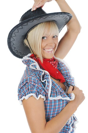 Blonde beauti cowgirl. Isolated on white background photo