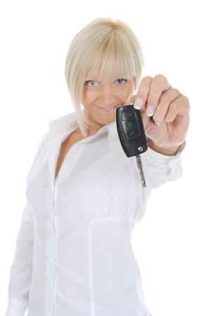woman holds the key to the car. Isolated on white background Stock Photo - 7799382