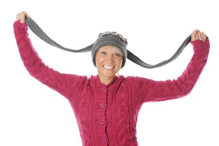 Smiling woman in winter style. Isolated on white background Stock Photo - 7799449