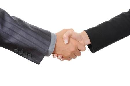 apreton de manos: Apret�n de manos dos asociados de negocios. Aislados en blanco