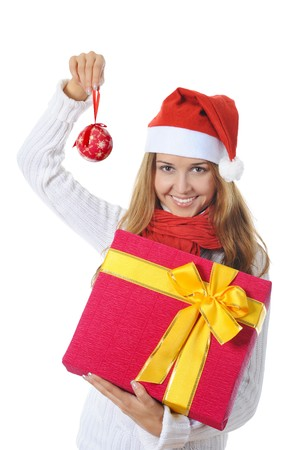 Beautiful christmas woman with a gift. Isolated on white background photo