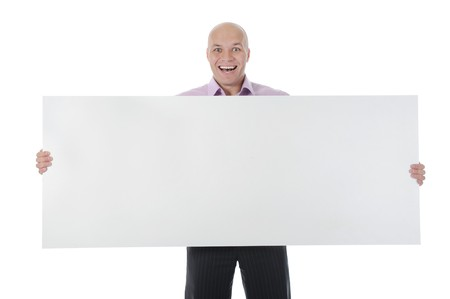 young man holding large blank. Isolated on white photo