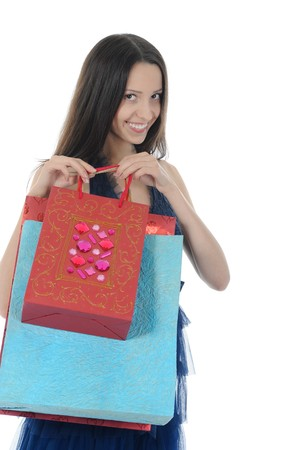 beautiful girl with shopping bags. Isolated on white background Stock Photo - 7799642