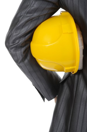 man with construction helmet. Isolated on white photo