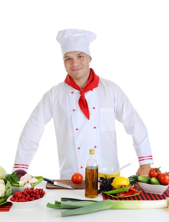 Chef in uniform at restaurant. Isolated on white background photo