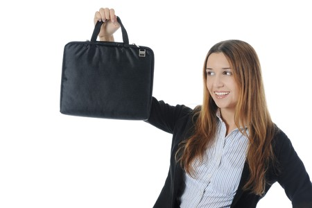 business woman with bag.  Isolated on white background photo