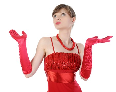 Beautiful woman in red gloves raised their hands. Isolated on white background photo