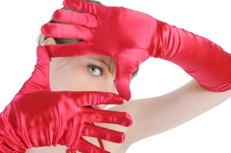 Portrait of a beautiful woman in the red gloves. Isolated on white background photo