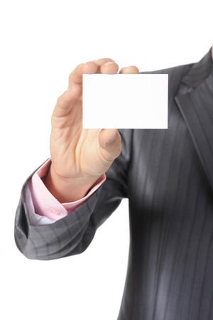 man handing a blank. Isolated on white Stock Photo - 7799673