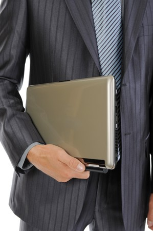 man holding laptop  in his hand. Isolated on white background Stock Photo - 7799729