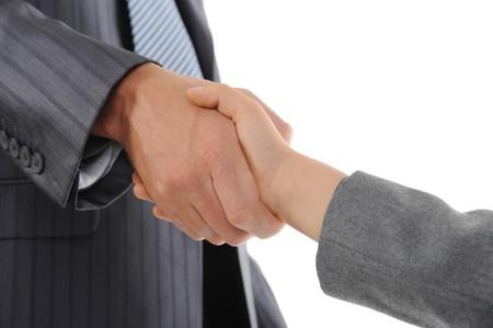 Handshake man and boy. Isolated on white Stock Photo - 7799686