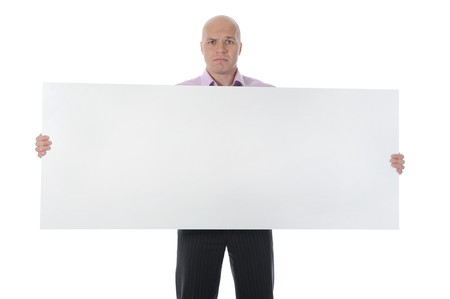 sad businessman holding large blank. Isolated on white background photo