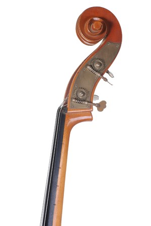 comp: Image headstock contrabass. Isolated on white background
