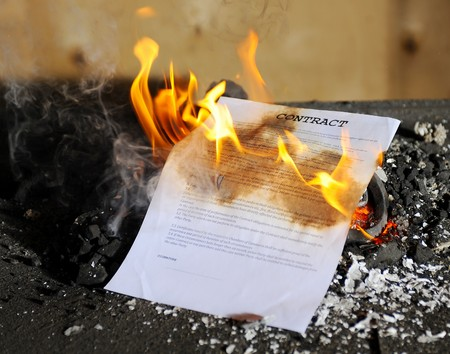Burning in the flames of the fire document photo