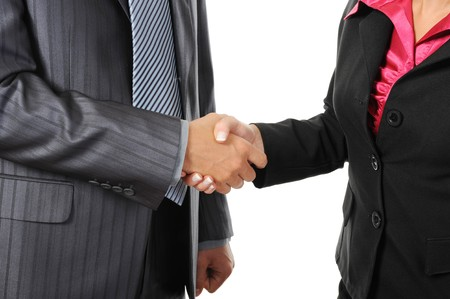 handskakning: Handshake of business partners. Isolated on white
