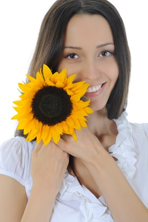Woman with a sunflower. Isolated on white background photo