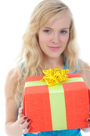 blonde with a gift. Isolated on white background photo