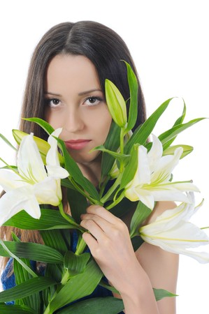 woman with lily in her hand. Isolated on white photo
