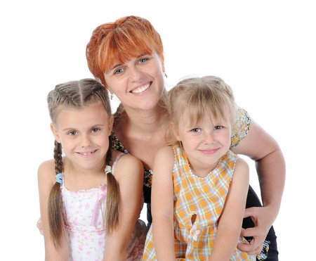 Happy Mother with her daughters. Isolated on white background Stock Photo - 7799792