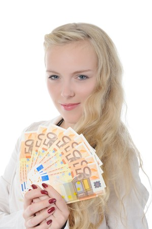 Blonde woman with euro . Isolated on white photo