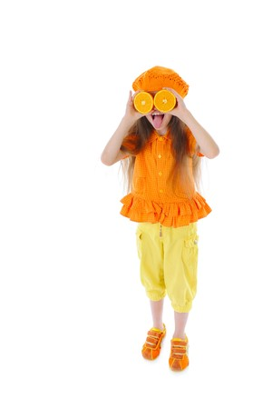 Funny girl with oranges. Isolated on white photo