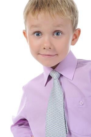 Happy little boy. Isolated on white background photo