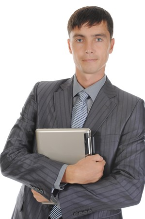 Businessman holding notebook. Isolated on white background Stock Photo - 7799835