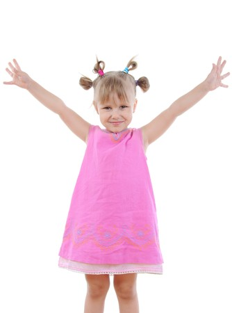 Funny little girl. Isolated on white background Stock Photo - 7799844