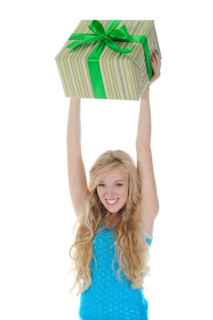 blonde with a gift. Isolated on white background Stock Photo - 7799874