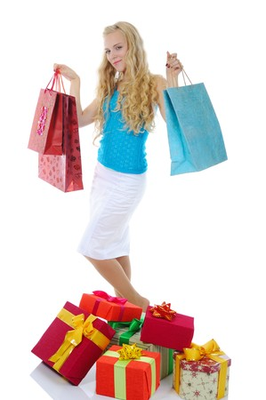 women with shopping bags. Isolated on white background photo