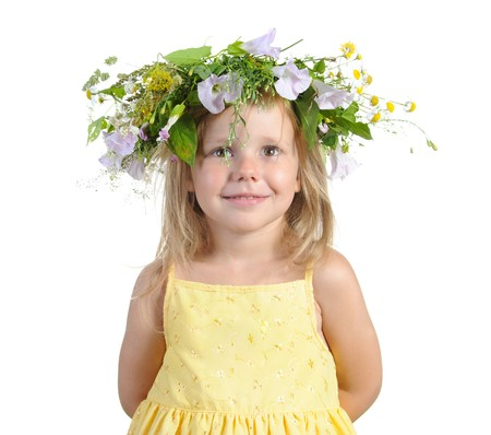 girl with a wreath. Isolated on white background photo