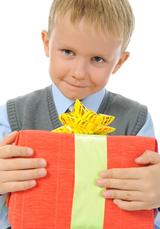 boy holding present box . Isolated on white background Stock Photo - 7799928