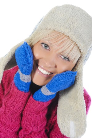 Smiling woman in winter style. Isolated on white Stock Photo - 7799955
