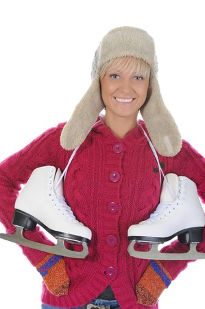 Young woman with skates. Isolated on white background photo