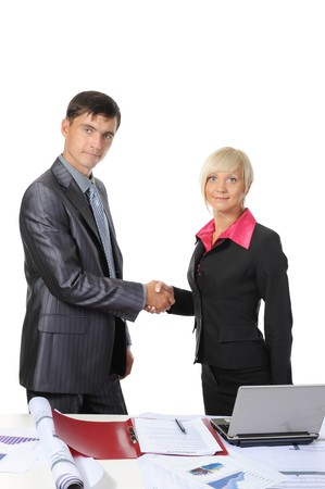 picture of handshake two business partners, when signing contract. . Isolated on white background photo