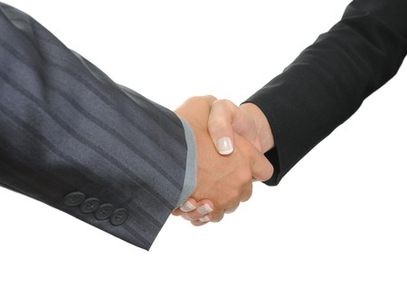 Handshake two business partners. Isolated on white Stock Photo - 7799877