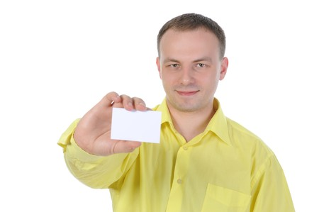 man handing a white blank. Isolated on white photo
