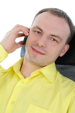 businessman talking on the phone. Isolated on white background Stock Photo - 7890733