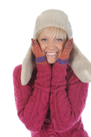 Smiling woman in winter style. Isolated on white photo