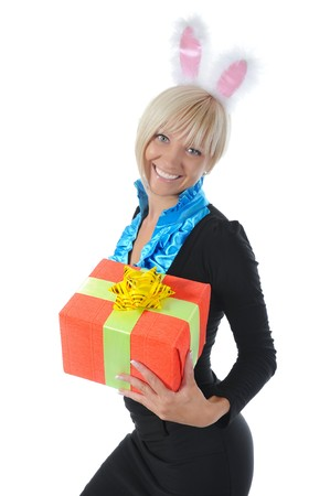 blonde with a gift. Isolated on white background Stock Photo - 7890725
