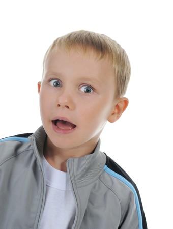 Funny little boy. Isolated on white background photo