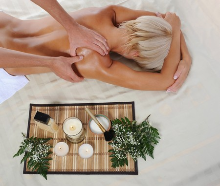 Blonde for massage in the spa salon Stock Photo - 7890741