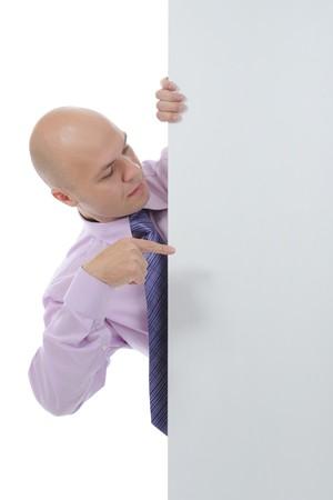man with large blank. Isolated on white background Stock Photo - 7890761