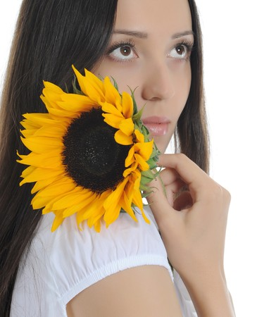 brunette with a sunflower. Isolated on white background Stock Photo - 7890769