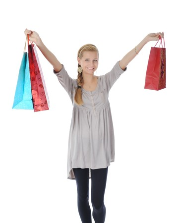 blonde with shopping bags. Isolated on white background Stock Photo - 7890751